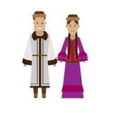 Kazakhs national dress. Illustration of national costume on white background Stock Image