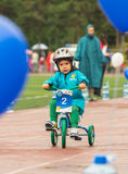 KAZAKHSTAN, ALMATY - JUNE 11, 2017: Children`s cycling competitions Tour de kids. Children aged 2 to 7 years compete in Stock Photography