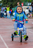 KAZAKHSTAN, ALMATY - JUNE 11, 2017: Children`s cycling competitions Tour de kids. Children aged 2 to 7 years compete in Royalty Free Stock Images