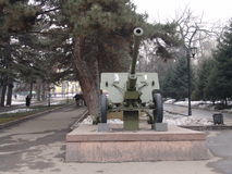Kazakhstan. Almaty. War Memorial in Panfilov park. Anti- tank gun Stock Image
