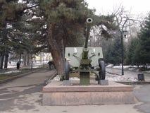 Kazakhstan. Almaty. War Memorial in Panfilov park. Anti- tank gun Stock Image