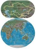 Kazakhstan and Asia Oceania maps Stock Image