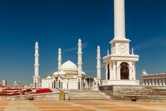 Kazakhstan, Astana, KazakYeli monument Kazakh Country , Shabyt Palace of Arts and the Palace of Independence Stock Images