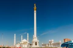 Kazakhstan, Astana, KazakYeli monument Kazakh Country , Shabyt Palace of Arts and the Palace of Independence Stock Image