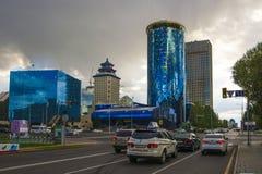kazakhstan astana Quartiere degli affari nel centro urbano fotografia stock libera da diritti
