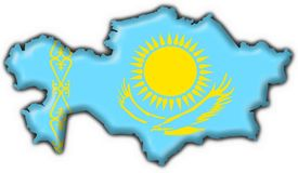 Kazakhstan button flag map shape Royalty Free Stock Photo