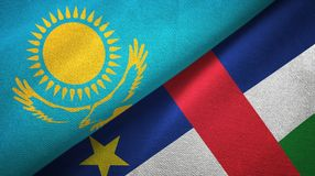 Kazakhstan and Central African Republic two flags textile fabric texture royalty free illustration