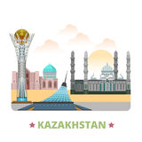 Kazakhstan country design template Flat cartoon st. Kazakhstan country design template. Flat cartoon style historic sight vector illustration. World travel Asia Royalty Free Stock Photography