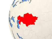 Kazakhstan on 3D globe. Map of Kazakhstan on globe with watery blue oceans and landmass with visible country borders. 3D illustration stock illustration