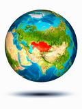 Kazakhstan on Earth with white background. Kazakhstan in red on model of planet Earth hovering in space. 3D illustration isolated on white background. Elements royalty free stock image