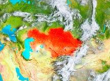 Kazakhstan en rouge sur terre Photos libres de droits