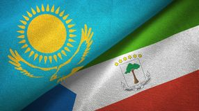 Kazakhstan and Equatorial Guinea two flags textile cloth, fabric texture. Kazakhstan and Equatorial Guinea two folded flags together vector illustration