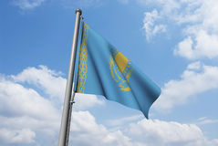 Kazakhstan Flag with Clouds Royalty Free Stock Photography