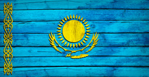 Kazakhstan flag painted on wooden boards Stock Images