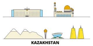 Kazakhstan flat landmarks vector illustration. Kazakhstan line city with famous travel sights, skyline, design. Kazakhstan flat landmarks vector illustration vector illustration