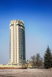 Kazakhstan Hotel in in Almaty, Kazakhstan. Kazakhstan Hotel was constructed  in 1970 to stand an earthquake that measures 9.0 on the Richter scale. It is a Royalty Free Stock Image