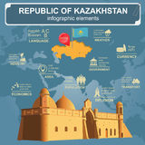 Kazakhstan  infographics, statistical data, sights. Stock Photo