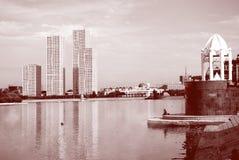 Kazakhstan kapitałowy Astana quay Monochromatic wizerunku processin Zdjęcia Stock