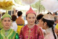 Kazakhstan. Kazakh batyrs girls in a typical dress Royalty Free Stock Photos