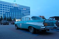 Kazakhstan, Kostanay, 2019-06-20, The 7th Peking to Paris Rally Motor Challenge. A retro Chevrolet car is parked in the town. Kazakhstan, Kostanay, 2019-06-20, A royalty free stock photography
