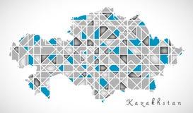 Kazakhstan Map crystal diamond style artwork Stock Photography