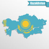Kazakhstan map with flag inside and ribbon Royalty Free Stock Photos
