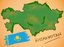 Kazakhstan Map and National Flag Vector Stock Image