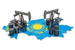 Kazakhstan map with oil barrels and pumpjacks. Oil production co. Ncept. 3D vector illustration