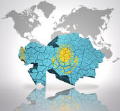 kazakhstan mapa Zdjęcie Stock