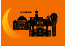Kazakhstan and moon Stock Images