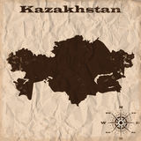 Kazakhstan old map with grunge and crumpled paper. Vector illustration Royalty Free Stock Photography