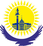 kazakhstan Orzeł pod żółtym słońcem, Słońce z budynkami kapitał, wektor Zdjęcia Stock