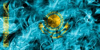 Kazakhstan smoke flag isolated on a black background.  Royalty Free Stock Photo