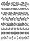 Kazakhstan traditional embroidry. Set of borders, embroidery cross, vector illustration Royalty Free Stock Photo