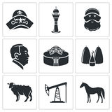 Kazakhstan Vector Icons Set Stock Photos