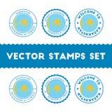 Kazakhstani flag rubber stamps set. Royalty Free Stock Photo
