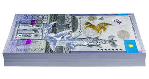 Kazakhstans money - 20,000 Tenge. ALMATY, KAZAKHSTAN - JANUARY 28, 2016: The national currency of Kazakhstan - the new 20,000 Tenge banknote - double the highest Stock Photography