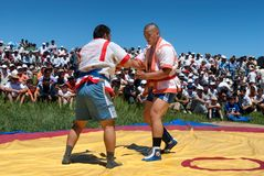 Kazaksha kyres - the national wrestling in Kazakhstan Royalty Free Stock Photo