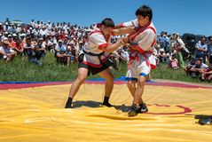 Kazaksha kyres - the national wrestling in Kazakhstan Royalty Free Stock Photos
