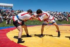 Kazaksha kyres - the national wrestling in Kazakhstan Stock Image