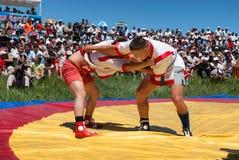Kazaksha kyres - the national wrestling in Kazakhstan Stock Photos