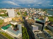 kazan Εναέριο κέντρο άποψης της πόλης στο μεγάλο ξενοδοχείο Στοκ εικόνα με δικαίωμα ελεύθερης χρήσης