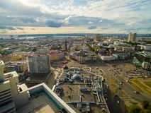kazan Εναέριο κέντρο άποψης της πόλης στο μεγάλο ξενοδοχείο Στοκ φωτογραφία με δικαίωμα ελεύθερης χρήσης
