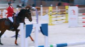 Kazan, Ρωσία - 25 Απριλίου 2018: Ιππικό πρωτάθλημα - ιππικός αναβάτης στον επιβήτορα που καλπάζει στο αμμώδες manege απόθεμα βίντεο