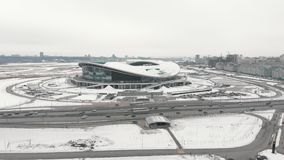 kazan Ρωσία 16-03-2019: Εναέρια άποψη του Kazan γηπέδου ποδοσφαίρου στο χειμώνα φιλμ μικρού μήκους