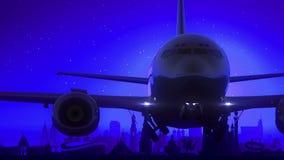 Kazan Ρωσία μπλε ταξίδι οριζόντων νύχτας φεγγαριών απογείωσης αεροπλάνων ελεύθερη απεικόνιση δικαιώματος