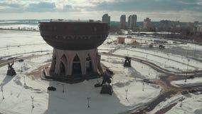 kazan Ρωσία 16-03-2019: Πανοραμική άποψη της Kazan θέας κύπελλων εναέρια όψη απόθεμα βίντεο