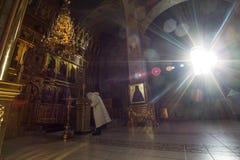 Kazan, Ρωσία, στις 9 Φεβρουαρίου 2017, μοναστήρι Zilant - μέσα στη χριστιανική εκκλησία - Ορθόδοξη Εκκλησία στην ηλιόλουστη ημέρα Στοκ Φωτογραφίες