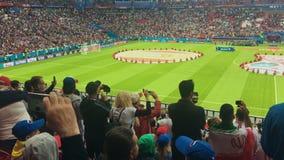 KAZAN, ΡΩΣΙΑ - 20 Ιουνίου 2018: Παγκόσμιο Κύπελλο 2018 της FIFA - Kazan στάδιο χώρων - αντιστοιχία Ιράν-Ισπανία - απόδοση πριν απ απόθεμα βίντεο