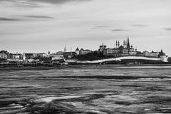 kazan Россия Вид с воздуха Кремля в зиме стоковые фотографии rf